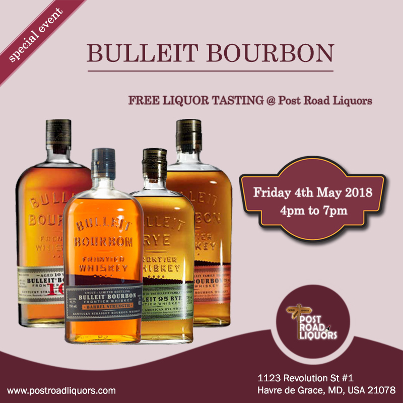 Free Liquor tasting of BULLEIT BOURBON